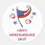 Día de la Independencia feliz Pegatinas Redondas