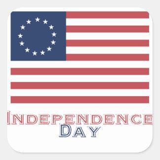 Día de la Independencia Calcomanía Cuadradas Personalizada