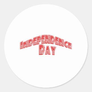 Día de la Independencia rojo Pegatina Redonda