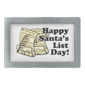 Día de la lista de Santa Hebilla De Cinturon Rectangular