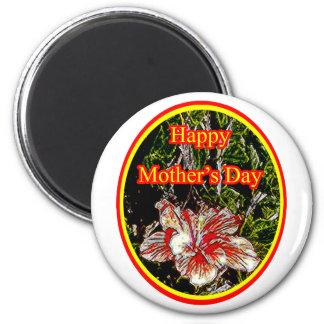 Día de la madre feliz 2 o del hibisco del paño El  Imán Para Frigorífico