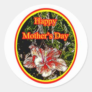 Día de la madre feliz 2 o del hibisco del paño El Etiqueta Redonda