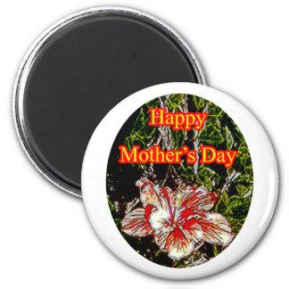 Día de la madre feliz o del hibisco del paño El MU Iman De Frigorífico