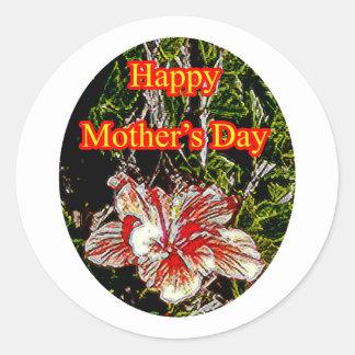 Día de la madre feliz o del hibisco del paño El Pegatina Redonda
