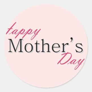 Día de la madre feliz etiqueta redonda