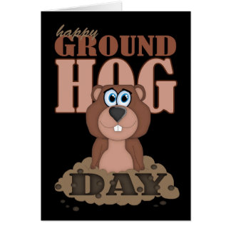 Día de la marmota con el dibujo animado lindo Grou Tarjetas
