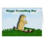 Día de la marmota feliz con la sombra del groundho tarjeton