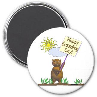 Día de la marmota feliz Groundhog Imán Redondo 7 Cm