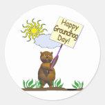 Día de la marmota feliz Groundhog Pegatina Redonda
