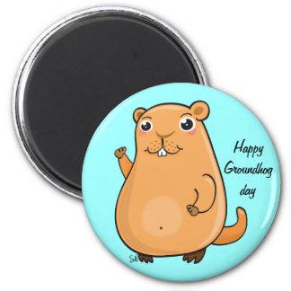 Día de la marmota feliz imanes de nevera
