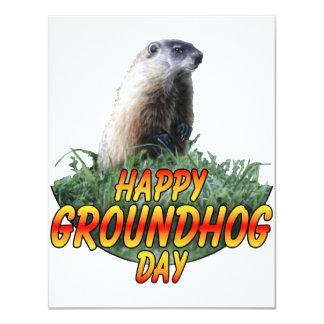 """Día de la marmota feliz invitación 4.25"""" x 5.5"""""""