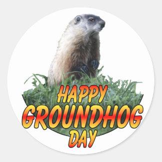 Día de la marmota feliz pegatina redonda