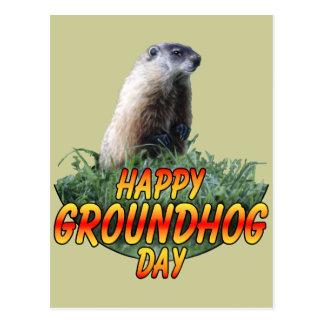Día de la marmota feliz postal