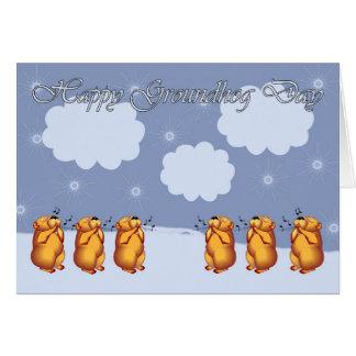 Día de la marmota feliz que silba Groundhogs Tarjeta De Felicitación