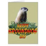 Día de la marmota feliz tarjeta