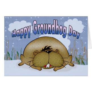 Día de la marmota feliz tarjeta de felicitación