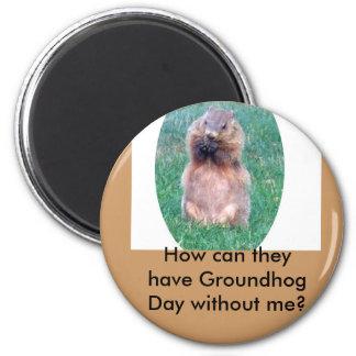 Día de la marmota imán redondo 5 cm
