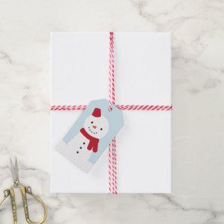 Día de la nieve - conejito y muñeco de nieve etiquetas para regalos