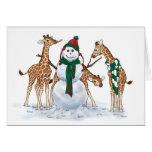 Día de la nieve de la jirafa tarjeta