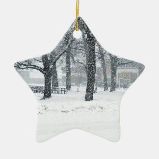 Día de la nieve en Kahoka MES Adorno De Cerámica En Forma De Estrella