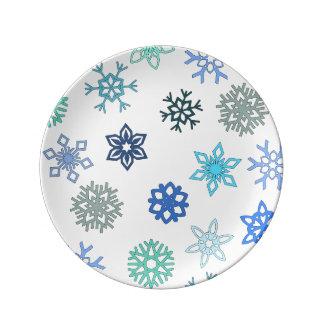Día de la nieve platos de cerámica