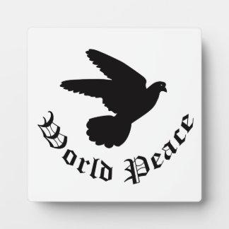 Día de la paz de mundo placas