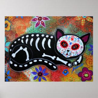 Día de la pintura muerta del EL Gato del gato Póster