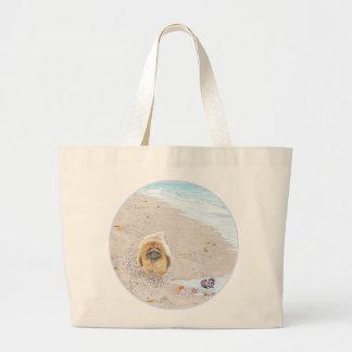 Día de la playa bolsa tela grande