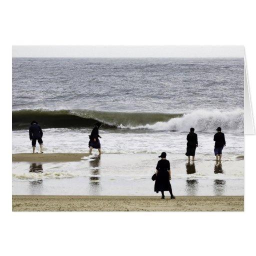 Día de la playa de Amish Tarjetón