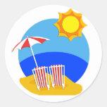Día de la playa de la sol etiqueta redonda