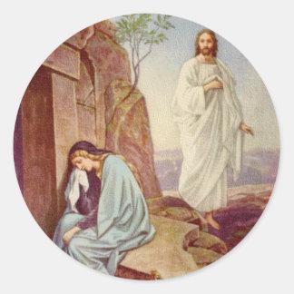 Día de la resurrección de Pascua Pegatina Redonda