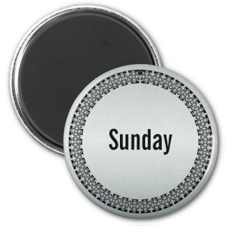 Día de la semana domingo imán redondo 5 cm