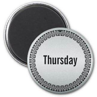 Día de la semana jueves imán redondo 5 cm