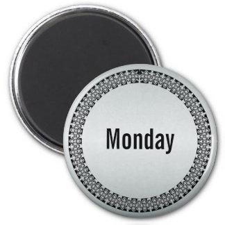 Día de la semana lunes imán redondo 5 cm