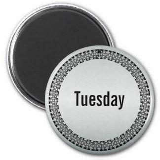 Día de la semana martes imán redondo 5 cm