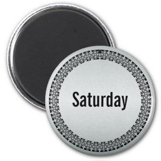 Día de la semana sábado imán redondo 5 cm