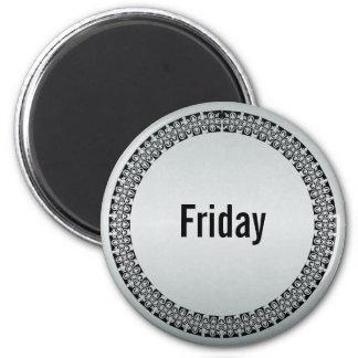 Día de la semana viernes imán redondo 5 cm