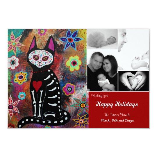 """Día de la tarjeta de Navidad muerta del EL Gato Invitación 3.5"""" X 5"""""""