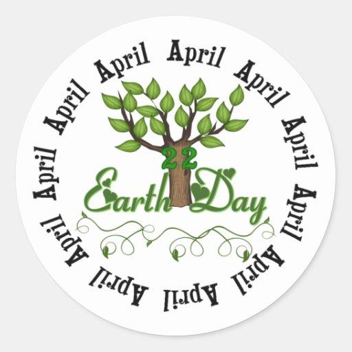 Día de la Tierra 22 de abril Etiqueta Redonda