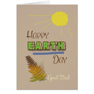 Día de la Tierra arte feliz Sun de la palabra del  Tarjeta De Felicitación
