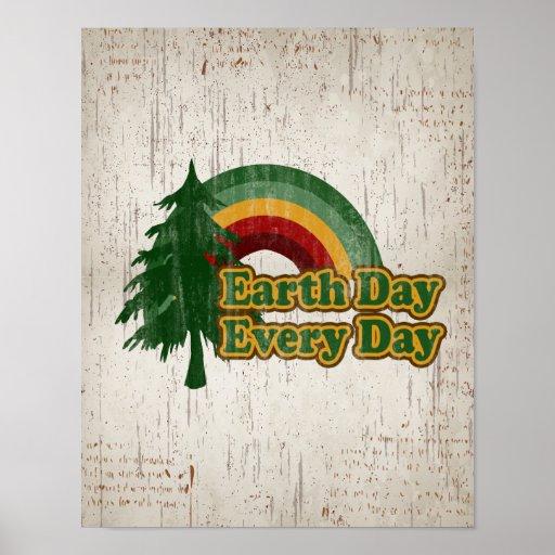 Día de la Tierra cada día, arco iris retro Poster