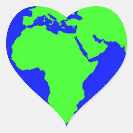 Día de la Tierra Calcomanía De Corazón
