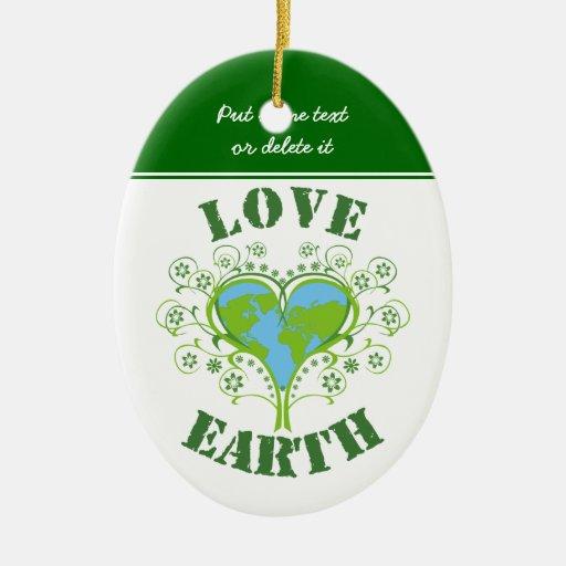 Día de la Tierra del amor Adorno Ovalado De Cerámica