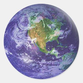 Día de la Tierra del globo 3D Pegatina Redonda