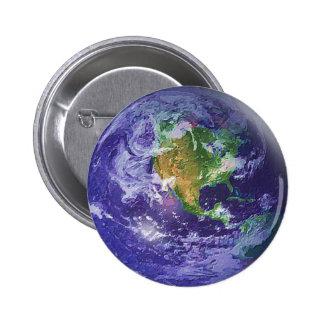 Día de la Tierra del globo 3D Pin Redondo De 2 Pulgadas