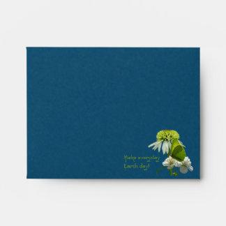 Día de la Tierra del ramo de la flor verde y blanc Sobres