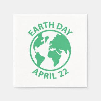 Día de la Tierra, el 22 de abril Servilleta Desechable