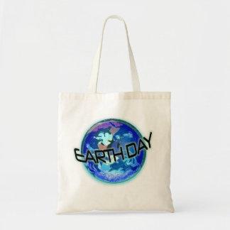 Día de la Tierra en azules Bolsa Tela Barata