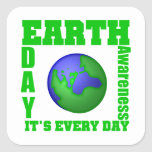 Día de la Tierra es cada día Calcomanías Cuadradases