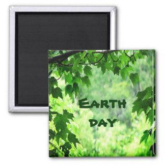 Día de la Tierra frondoso Imán Cuadrado